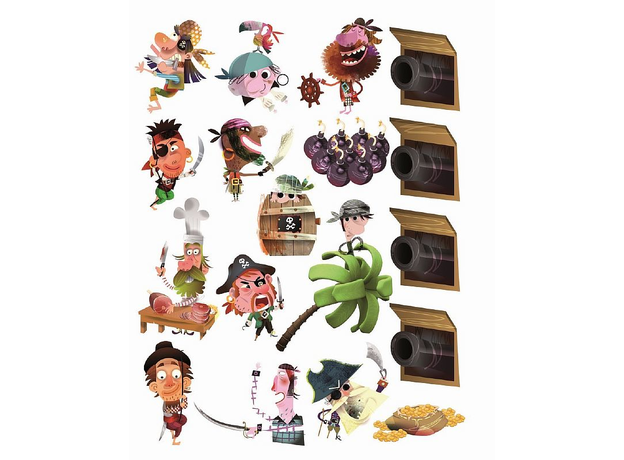 Магнитные стикер на стену Janod «Пираты» 1 большой стикер, 70 магнитов, фото , изображение 6