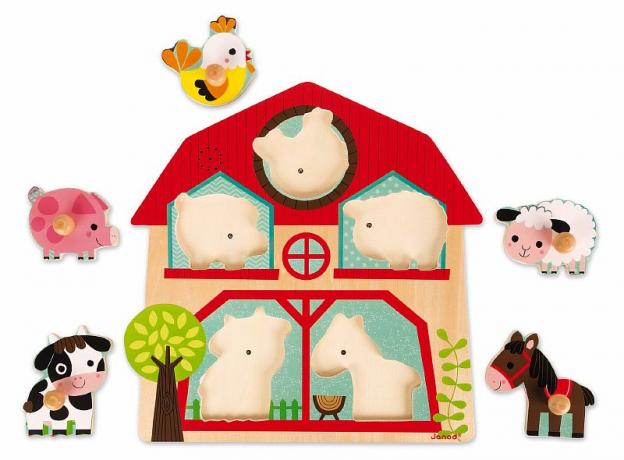 Деревянный пазл-вкладыш Janod «Ферма» музыкальный: 5 элементов, фото , изображение 4
