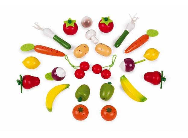 Набор овощей и фруктов в корзинке Janod, 24 элементов, фото , изображение 2