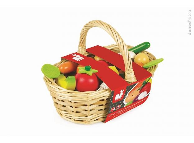 Набор овощей и фруктов в корзинке Janod, 24 элементов, фото , изображение 3