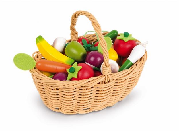 Набор овощей и фруктов в корзинке Janod, 24 элементов, фото