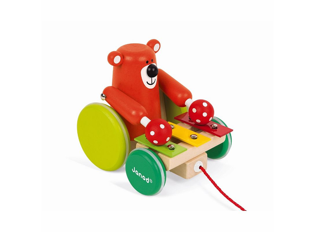 Каталка на веревочке Janod «Медвежонок-музыкант», фото , изображение 4