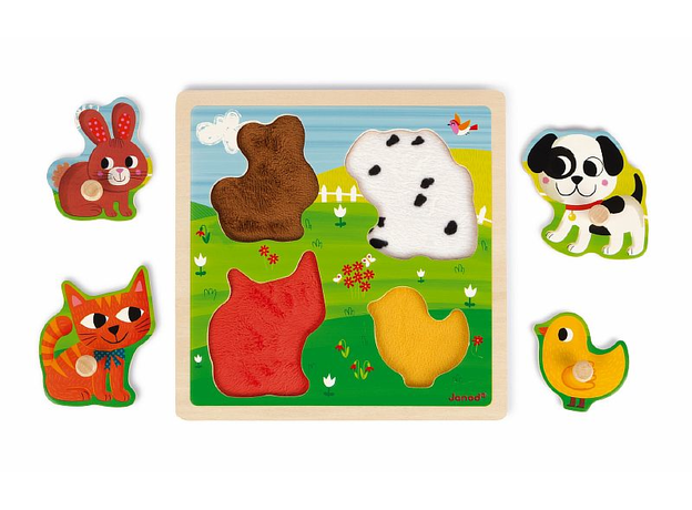 Текстурный деревянный пазл-вкладыш Janod «Домашнии животные», 4 элементов дерево/текстиль, фото , изображение 2