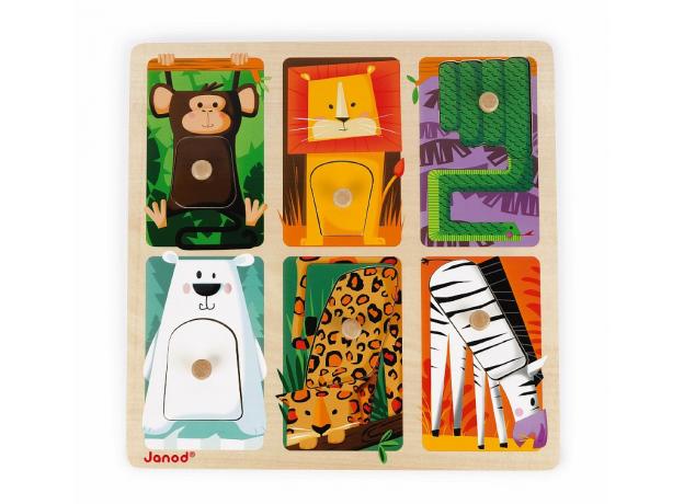 Текстурный деревянный пазл-вкладыш Janod «Животные Зоопарка», 6 элементов дерево/текстиль, фото , изображение 4