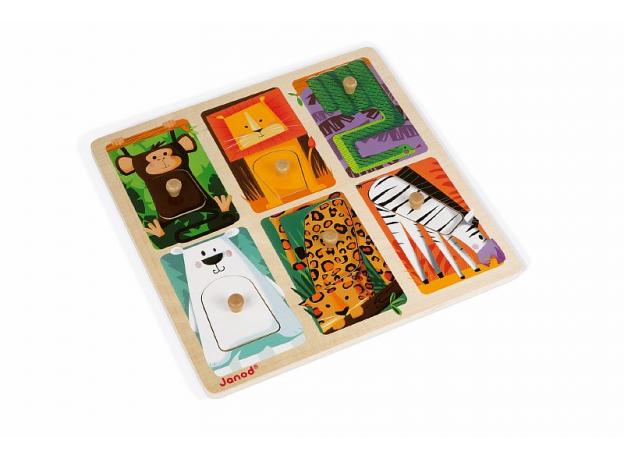 Текстурный деревянный пазл-вкладыш Janod «Животные Зоопарка», 6 элементов дерево/текстиль, фото , изображение 5