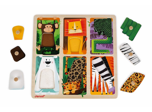 Текстурный деревянный пазл-вкладыш Janod «Животные Зоопарка», 6 элементов дерево/текстиль, фото , изображение 6