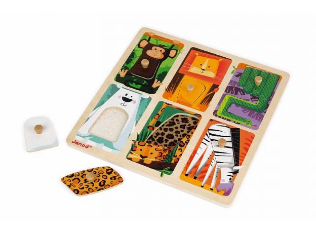 Текстурный деревянный пазл-вкладыш Janod «Животные Зоопарка», 6 элементов дерево/текстиль, фото , изображение 7