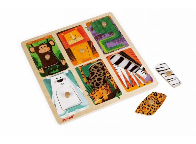 Текстурный деревянный пазл-вкладыш Janod «Животные Зоопарка», 6 элементов дерево/текстиль, фото