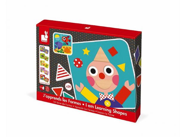 Сортер Janod «Фигуры и цвета» 6 двухстор. карточек, 29 дерев. фигур, фото , изображение 2