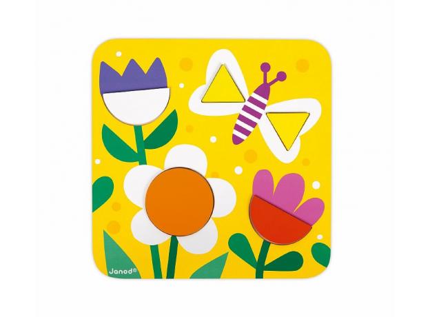 Сортер Janod «Фигуры и цвета» 6 двухстор. карточек, 29 дерев. фигур, фото , изображение 3