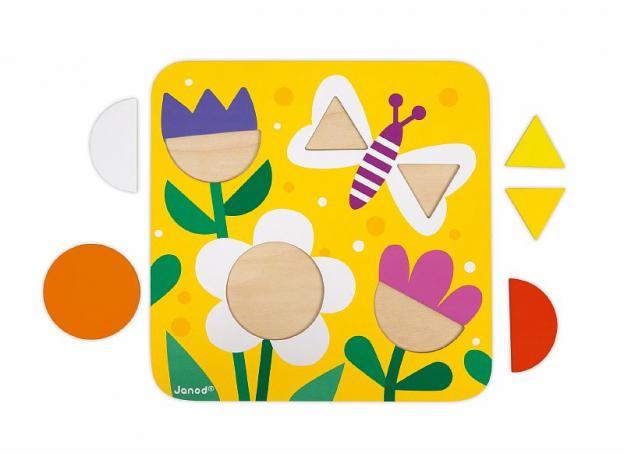 Сортер Janod «Фигуры и цвета» 6 двухстор. карточек, 29 дерев. фигур, фото , изображение 4