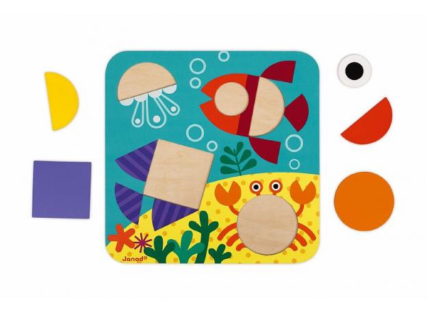 Сортер Janod «Фигуры и цвета» 6 двухстор. карточек, 29 дерев. фигур, фото , изображение 12