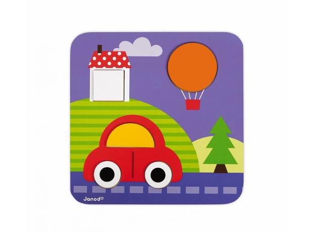 Сортер Janod «Фигуры и цвета» 6 двухстор. карточек, 29 дерев. фигур, фото , изображение 13