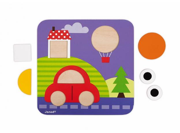 Сортер Janod «Фигуры и цвета» 6 двухстор. карточек, 29 дерев. фигур, фото , изображение 14