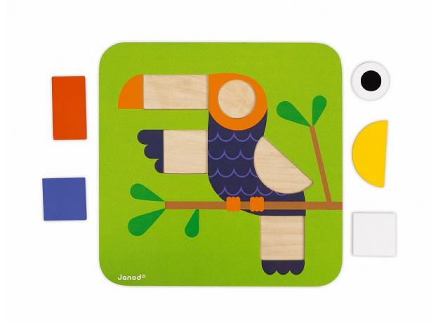 Сортер Janod «Фигуры и цвета» 6 двухстор. карточек, 29 дерев. фигур, фото , изображение 16