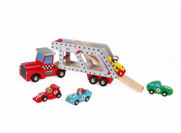 Автовоз с 4 гоночными машинками Janod деревянные, фото , изображение 4