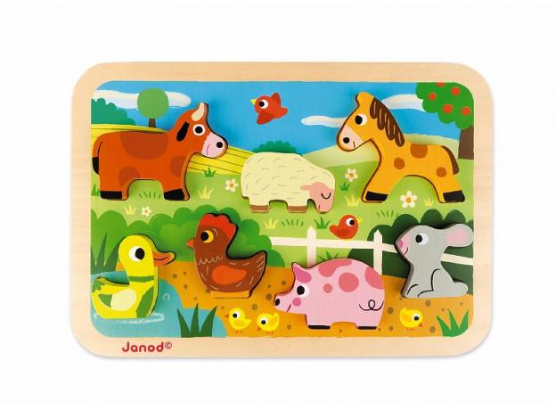 Пазл объемный Janod «Животные на ферме», 7 элементов, фото , изображение 2