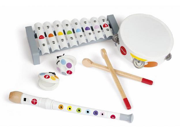 Набор музыкальных инструментов Janod, белый металлафон, флейта, бубен, констаньеты, фото