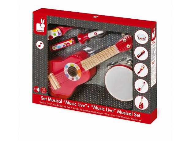 Набор музыкальных инструментов Janod, красный гитара, бубен, губная гармошка, дудочка, трещетка, фото , изображение 2