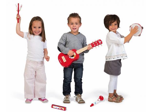 Набор музыкальных инструментов Janod, красный гитара, бубен, губная гармошка, дудочка, трещетка, фото