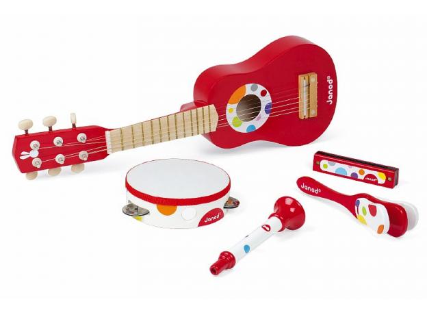 Набор музыкальных инструментов Janod, красный гитара, бубен, губная гармошка, дудочка, трещетка, фото , изображение 3