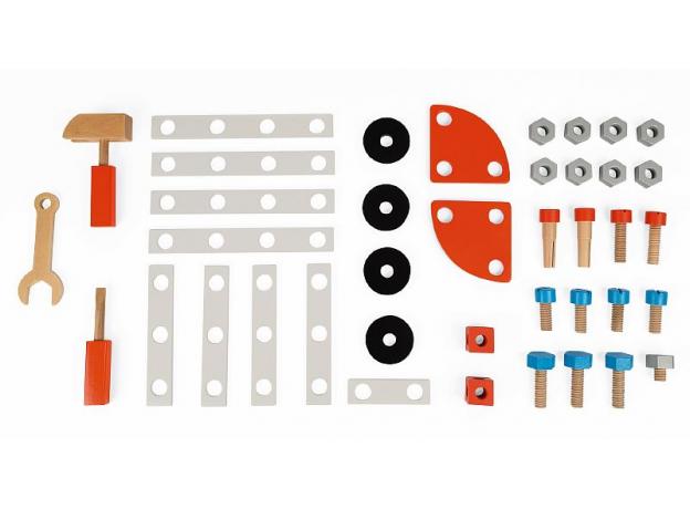 Верстак детский Janod «Brico'Kids» с магнитными инструментами: 40 аксессуаров, фото , изображение 9