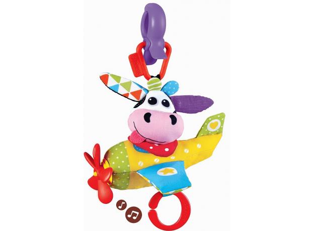 Игрушка мягкая музыкальная Yookidoo «Коровка в самолете» , фото
