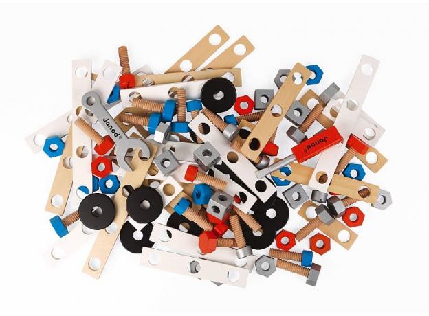 Конструктор Janod «Brico'Kids» в коробке: 100 элементов, фото , изображение 3