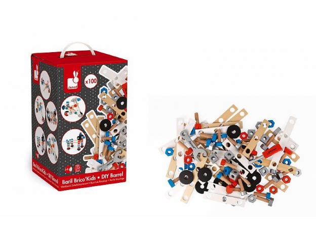 Конструктор Janod «Brico'Kids» в коробке: 100 элементов, фото , изображение 4