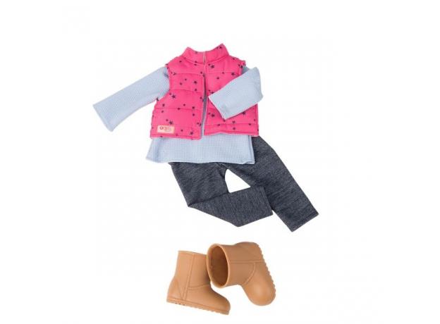Одежда для куклы 46 см Our Generation с дутой жилеткой и джеггинсами, фото