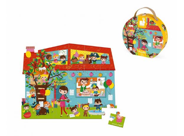 Пазл Janod «День Рождения» в круглом чемоданчике: 36 элементов, фото , изображение 3