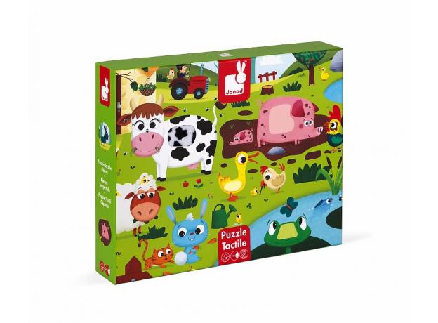 Пазл Janod «Животные на ферме» с разными текстурами: 20 элементов, фото , изображение 2
