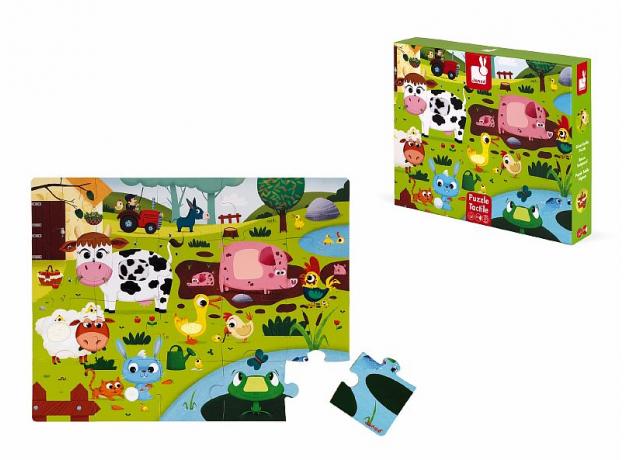 Пазл Janod «Животные на ферме» с разными текстурами: 20 элементов, фото , изображение 6