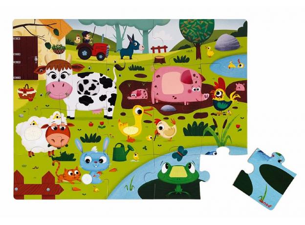 Пазл Janod «Животные на ферме» с разными текстурами: 20 элементов, фото