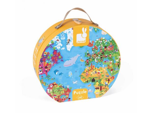 Пазл Janod «Карта мира» большой в круглом чемоданчике: 300 элементов, фото , изображение 2