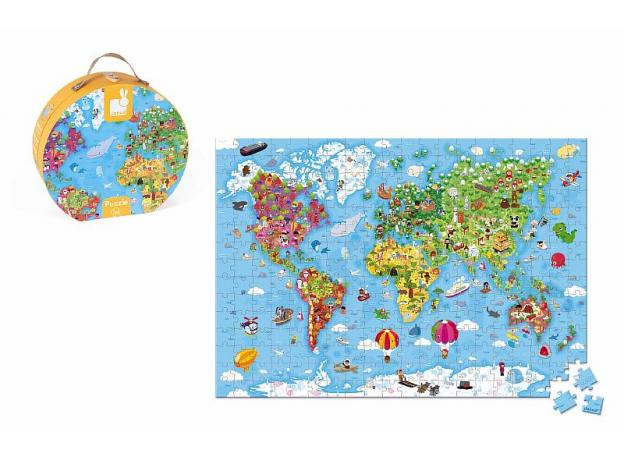 Пазл Janod «Карта мира» большой в круглом чемоданчике: 300 элементов, фото , изображение 4