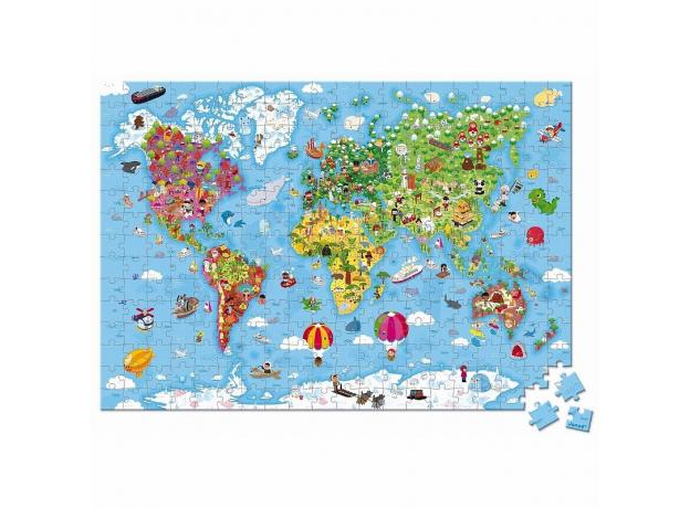 Пазл Janod «Карта мира» большой в круглом чемоданчике: 300 элементов, фото