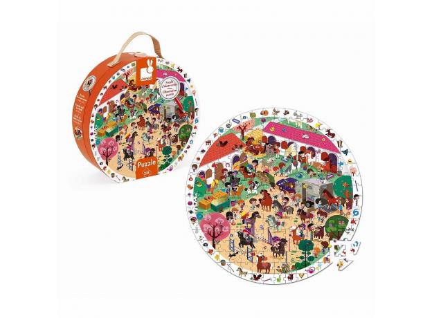 Пазл Janod «Лошадки» большой в круглом чемоданчике: 208 элементов, фото , изображение 3