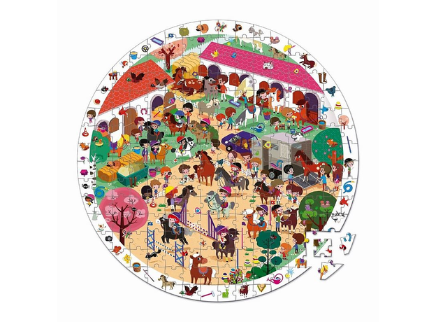 Пазл Janod «Лошадки» большой в круглом чемоданчике: 208 элементов, фото