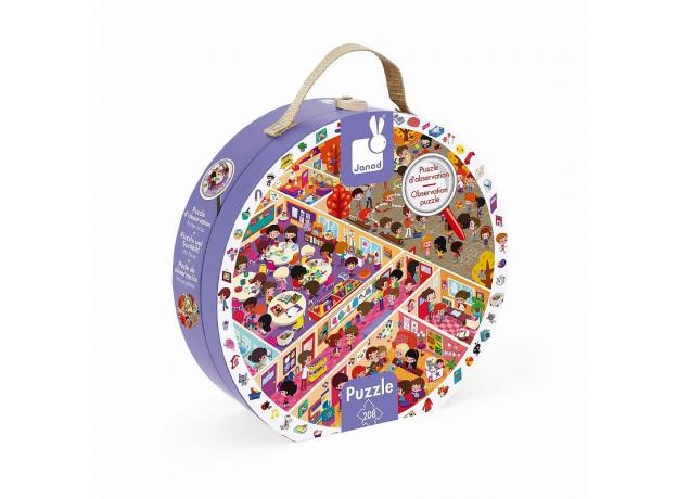 Пазл Janod «Школа» большой в круглом чемоданчике: 208 элементов, фото , изображение 2