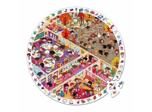 Пазл Janod «Школа» большой в круглом чемоданчике: 208 элементов, фото