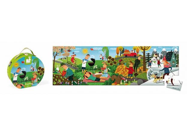 Пазл Janod «Времена года» панорамный в круглом чемоданчике: 36 элементов, фото , изображение 3