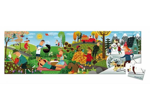Пазл Janod «Времена года» панорамный в круглом чемоданчике: 36 элементов, фото
