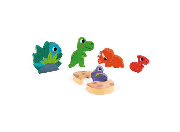 Деревянный пазл-вкладыш Janod с сюрпризом «Найди динозавра»; 6 элементов, фото , изображение 2