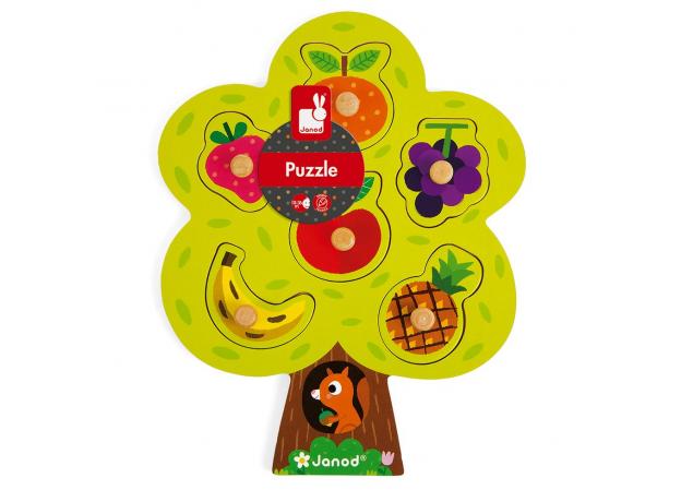Деревянный пазл-вкладыш Janod «Фруктовое дерево»; 6 элементов, фото , изображение 2