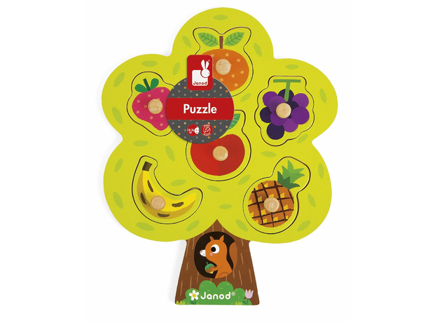Деревянный пазл-вкладыш Janod «Фруктовое дерево»; 6 элементов, фото , изображение 3