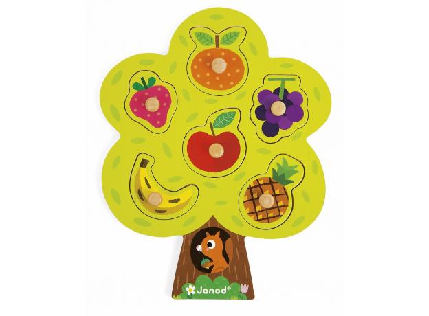 Деревянный пазл-вкладыш Janod «Фруктовое дерево»; 6 элементов, фото , изображение 5