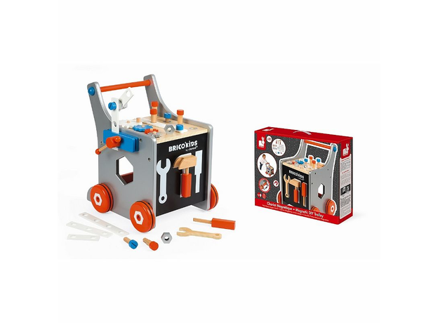 Тележка-каталка Janod «Brico'Kids» с набором магнитных инструментов: 25 аксессуаров, фото , изображение 8