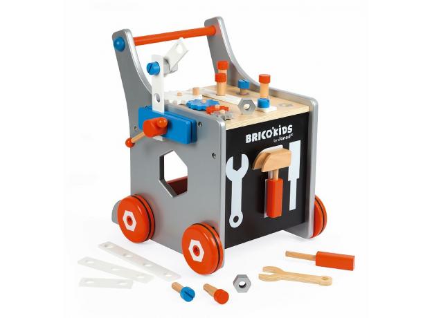 Тележка-каталка Janod «Brico'Kids» с набором магнитных инструментов: 25 аксессуаров, фото