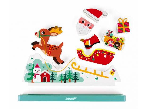Магнитный пазл вертикальный Janod «Летящий Санта Клаус», фото , изображение 7